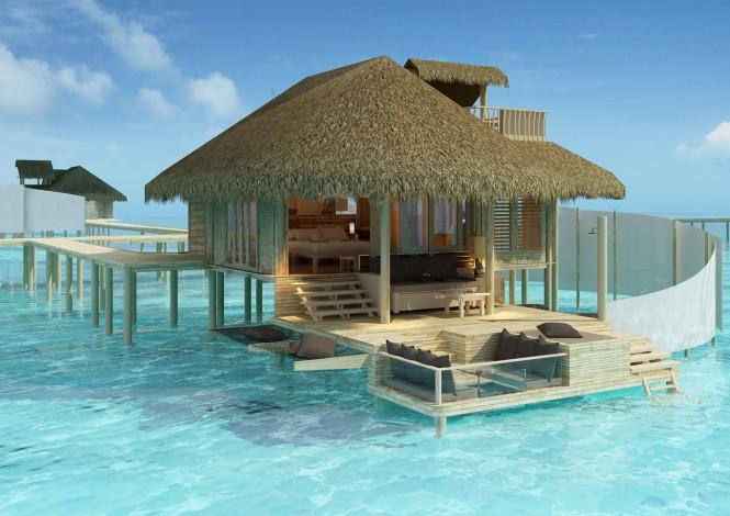 沙滩上高大的棕榈树,清澈见底的碧蓝海水,海水中独特的流苏别墅,这就是美如画的马尔代夫的度假天堂--Laamu。 Laamu独特的海中别墅,360度观海,珊瑚礁浮潜,还能有海豚和海龟观赏,让处在都市的你顿时心情愉悦。室内简约质感的独特设计,不仅赏心悦目,还能在你游泳归来的时候,为你提供一个很好的休息地,而且还有美味的食物品尝。日落时分,你可以躺在甲板上欣赏海上的日落全景,绝对的大饱眼福。              更多经典案例请访问